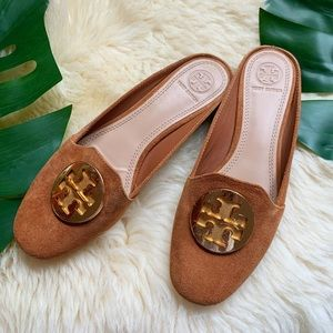 Tory Burch💕Suede Logo Emblem Leather Mules Slides